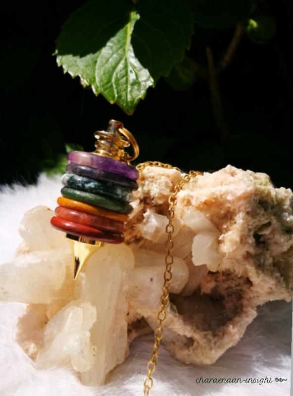 Chakra pendel groot met edelsteen ringen