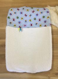 Aankleedkussenhoes wit met uiltjes