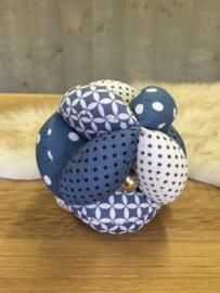 Stoffen bal blauw met wit