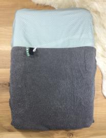 Aankleedkussenhoes grijs met oud groen