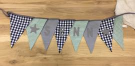 Vlaggenlijn met naam mint, grijs en marineblauw