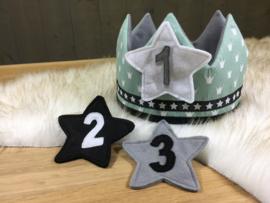 Verjaardagskroon oud groen en grijs