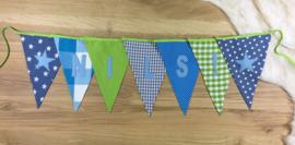 Vlaggenlijn met naam jeansblauw , turquoise en lime