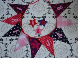 Vlaggenlijn verjaardag rose paars