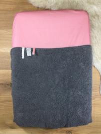 Aankleedkussenhoes grijs met oud rose