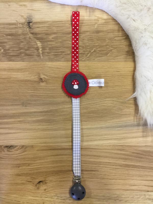 Speenkoord paddestoel rood en grijs