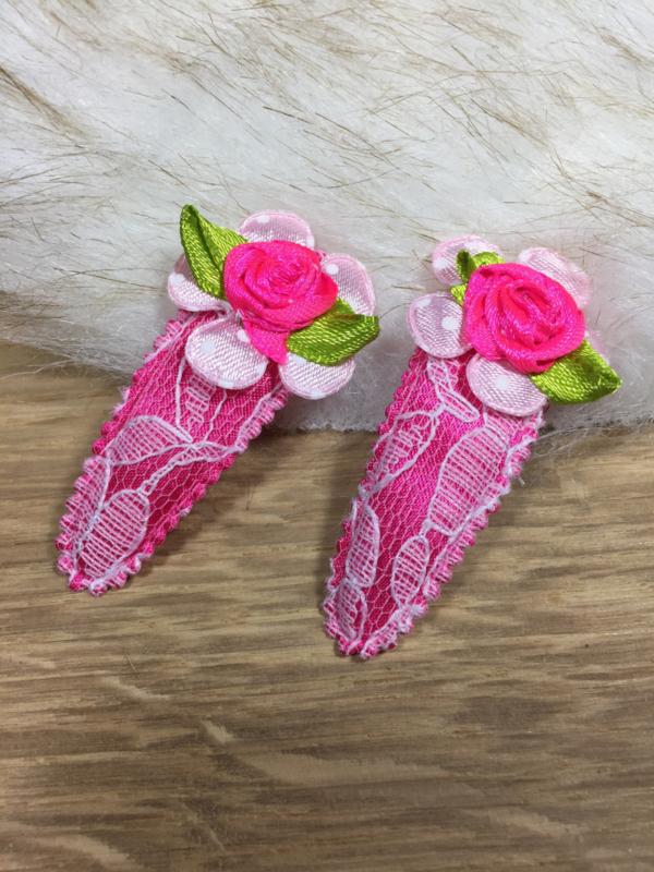 Haarspeldjes rose kant en bloem