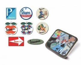 Vespa stickers in metalen doosje