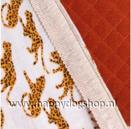Katoenen Deken Rood/Luipaard Print
