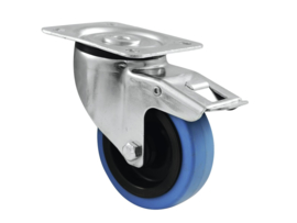 ROADINGER Zwenkwiel 100mm BLUE WHEEL met rem