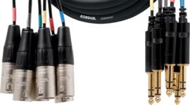 Cordial - 8 XLR male/8 Jacks stereo male -5m