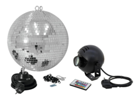 EUROLITE Mirror Ball Set 30cm with LED RGB Spot RC