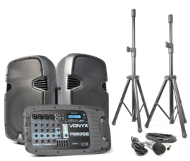 Vonyx PSS302 - Mobiele geluidset - 10 inch. - SD/USB/MP3/BT + 2 speaker statieven