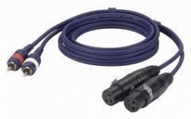 2 x XLR Female - 2 x RCA (tulp) Male, 150cm