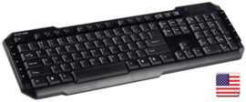 Bedraad Keyboard Multimedia USB US International Zwart