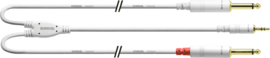 Cordial - Mini-J. stéréo/2 jacks mono M. lang- 1.5m wit
