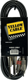 Yellow Cable - 2 rca male. / 2 j. metaal male. mono