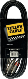 Yellow Cable - 2 rca male. /jack metaal male. stereo