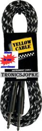 Yellow Cable - Jack  / jack -  met gewoven kabelhoes  grijs / zwart -  6 meter