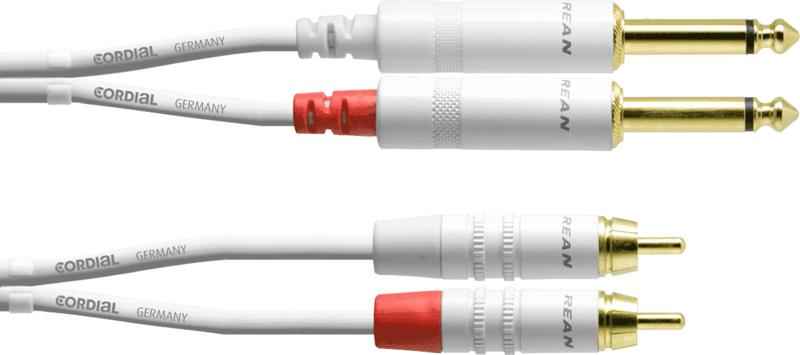 Cordial - 2 jacks m./2 RCA - 6m wit