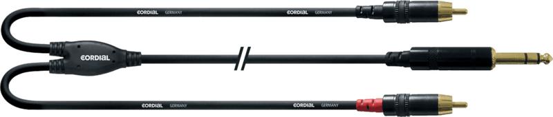 Cordial - STEREO - Jack stéréo mâle/2 RCA - 0.9m
