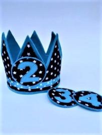 Verjaardagskroon donkerblauw aqua