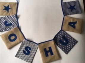 Naamslinger Voorbeeld JOSHUA rechthoekige vlaggetjes met jute