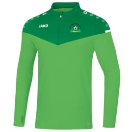 Zipsweater champ 2.0 groen (met clublogo MINDERHOUT)(8620/22)