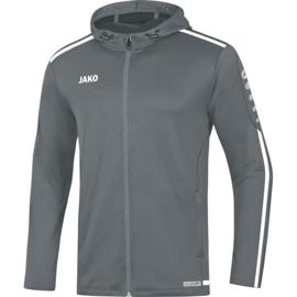 JAKO Jas met Kap striker 2.0  steengrijs-wit 6819/40