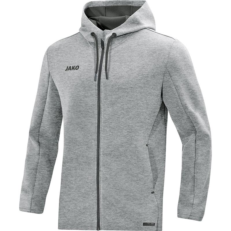 JAKO Pemium Basics jas met kap grijs gemeleerd 6829/40