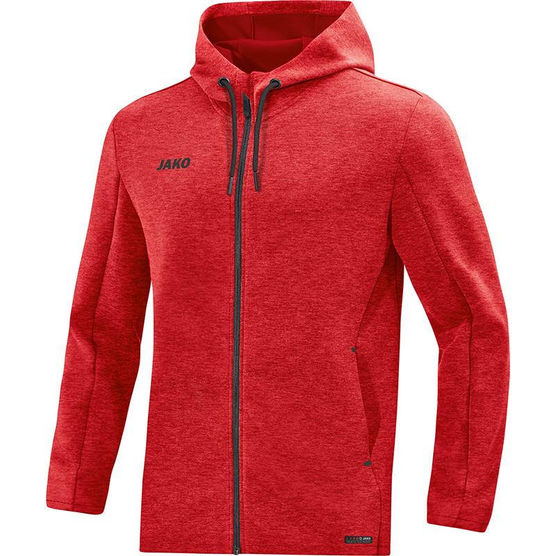 JAKO Pemium Basics jas met kap rood gemeleerd 6829/01