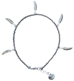 Boho feather silver anklet