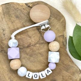 Speenkoord met naam Lila - Marble - Wood