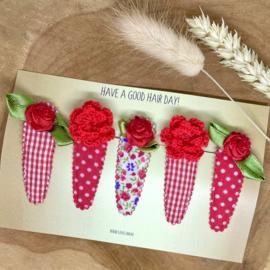 Set haarspeldjes meisje - red flowers