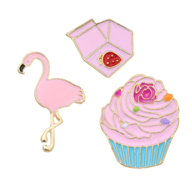 Pins cupcake - flamingo