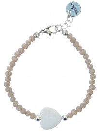 Taupe white heart facet