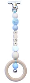 Wagenhanger met naam blauw - grijs - wit