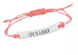 Life is a beach - coral/silver