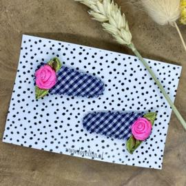 Set haarspeldjes baby - pink flower - blue