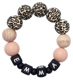 Bijtring met naam leopard - peach