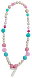 Verjaardagsketting roze/turquoise