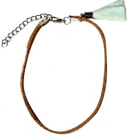 Mint brown leather anklet