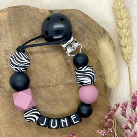 Speenkoord met naam - Blush - Zebra - Black