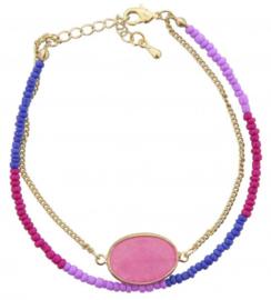 Double bracelet pink stone
