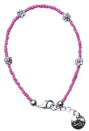 Pink & silver flower enkelbandje