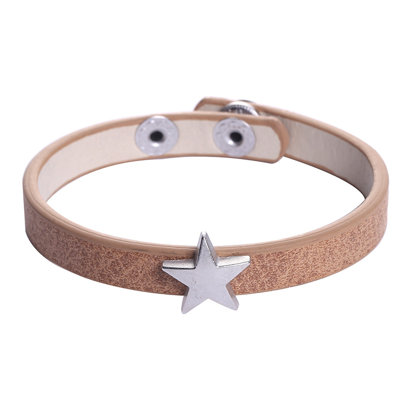 Leather lucky star beige