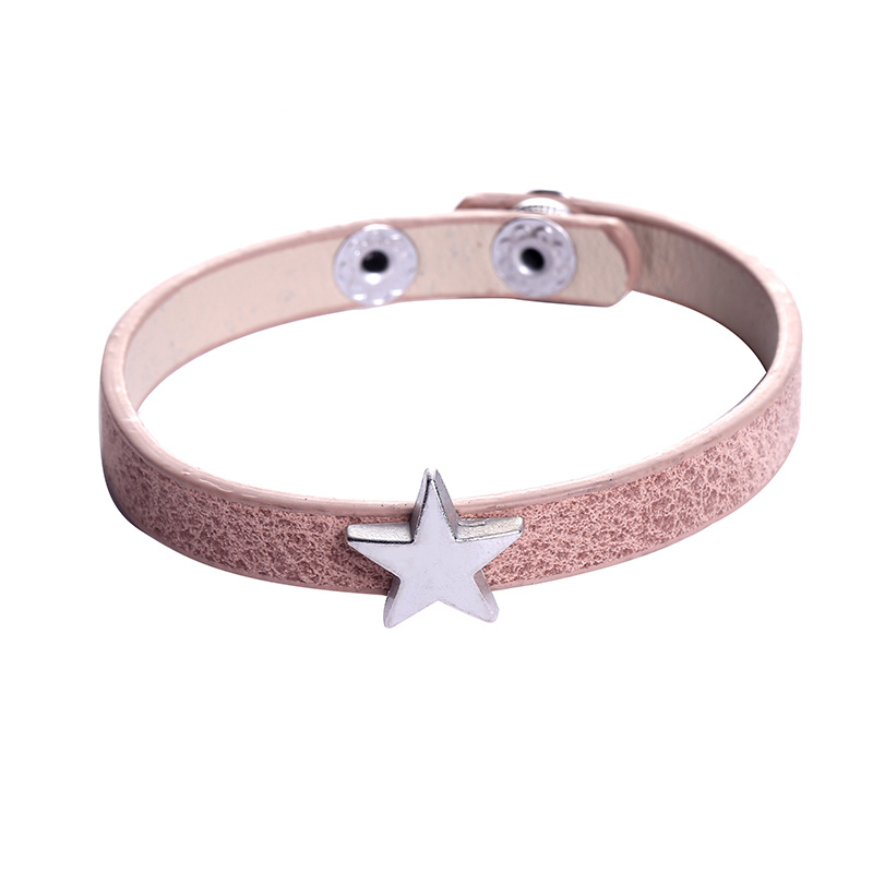 Leather lucky star pink
