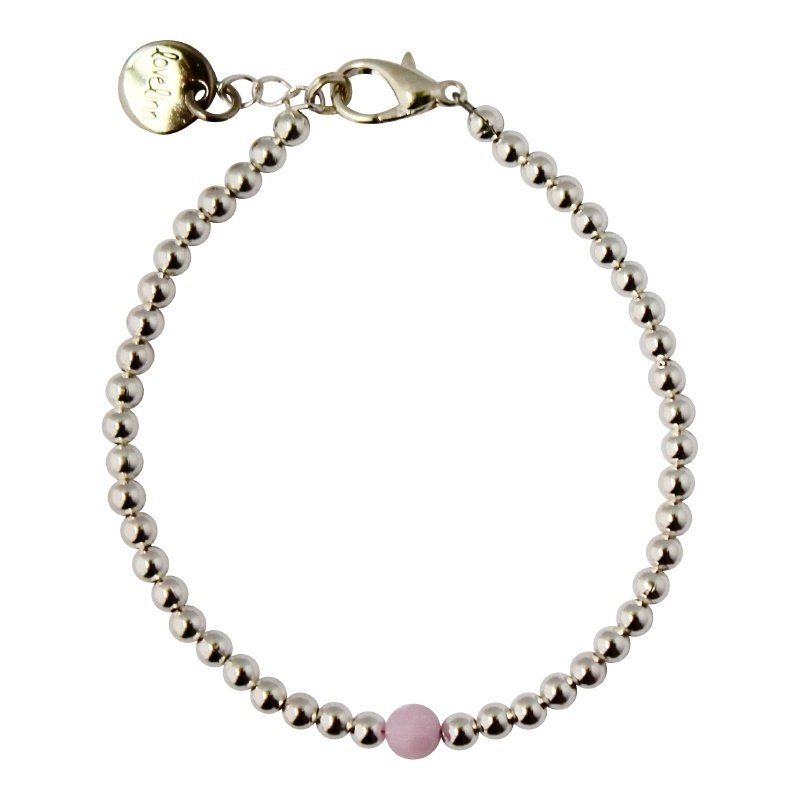 Silver & pink facet