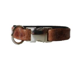 Halsband Leer  Vintage / Zwart  Halsomvang 28 cm
