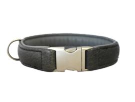 Halsband Hertenleer Donkergrijs - Lichtgrijs  Halsomvang 44 cm